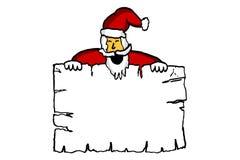Weihnachtsmann, der unbelegtes Papier anhält Stockfotografie