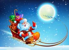Weihnachtsmann in einem Pferdeschlitten Stockfoto