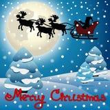 Weihnachtsmann in einem Pferdeschlitten Stockbild