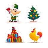 Weihnachtsmann-Elfencharakterporträt des Vektors flaches Weihnachts stock abbildung
