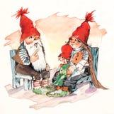 Weihnachtsmann-Familie lizenzfreie abbildung