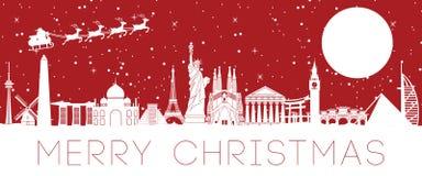 Weihnachtsmann-Fliege über dem weltberühmten Markstein, zum des Geschenks zu jedem zu schicken vektor abbildung