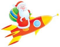 Weihnachtsmann fliegt auf eine Rakete stock abbildung