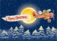 Weihnachtsmann-Fluglinie lizenzfreie abbildung