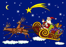 Weihnachtsmann-Flugwesen durch die Nacht in einem Pferdeschlitten Stockfotografie