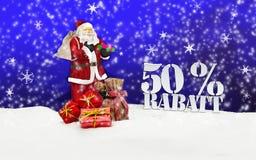 Weihnachtsmann - frohe Weihnachten 50-Prozent-Rabatt Stockfotografie