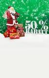 Weihnachtsmann - frohe Weihnachten 50-Prozent-Rabatt Lizenzfreie Stockfotos