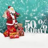 Weihnachtsmann - frohe Weihnachten 50-Prozent-Rabatt Lizenzfreie Stockbilder