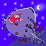 Weihnachtsmann gegen Flugzeug stockfotografie