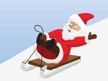 Weihnachtsmann geht auf einen Schlitten Stockfotografie