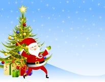 Weihnachtsmann-Geschenk-Szene Stockfotos