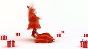Weihnachtsmann gibt Geschenke stock video footage