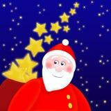 Weihnachtsmann gibt Sterne Stockbild
