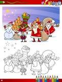 Weihnachtsmann-Gruppenfarbtonseite Lizenzfreies Stockbild