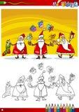 Weihnachtsmann-Gruppenfarbtonseite Lizenzfreie Stockbilder