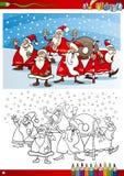 Weihnachtsmann-Gruppenfarbtonseite Stockbilder