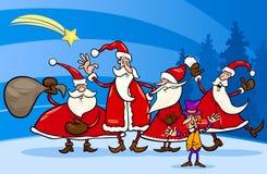 Weihnachtsmann-Gruppenkarikaturillustration Stockbild