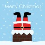 Weihnachtsmann haftete im Kamin Abstraktes Hintergrundmuster der weißen Sterne auf dunkelroter Auslegung stock abbildung