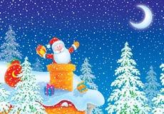 Weihnachtsmann haftete im Kamin auf Hausdach stock abbildung