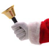Weihnachtsmann-Holding-Gold Bell Lizenzfreie Stockbilder