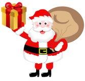 Weihnachtsmann holt Geschenke Stockfotos