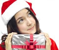 Weihnachtsmann-Hut mit grauem Weihnachten lizenzfreies stockfoto
