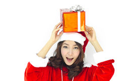 Weihnachtsmann-Hut mit grauem Weihnachten Lizenzfreie Stockfotografie