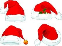 Weihnachtsmann-Hutansammlung Stockfotografie