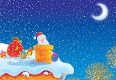 Weihnachtsmann im Kaminrohr stock abbildung