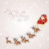 Weihnachtsmann im Pferdeschlitten Stockfotografie