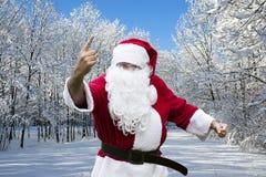 Weihnachtsmann im Schnee Stockbilder