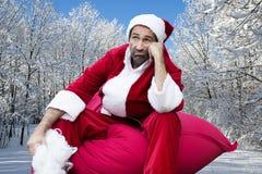Weihnachtsmann im Schnee Lizenzfreies Stockfoto