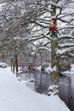 Weihnachtsmann im schwedischen Park Lizenzfreie Stockfotos