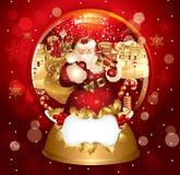 Weihnachtsmann im snowglobe Lizenzfreie Stockbilder