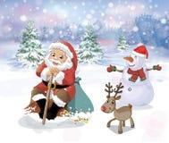 Weihnachtsmann im Wald Lizenzfreie Stockbilder
