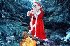 Weihnachtsmann im Winterwald Lizenzfreie Stockbilder