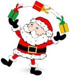 Weihnachtsmann-jonglierende Geschenke. Stockbilder