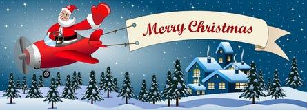 Weihnachtsmann-Karikaturfliegenflugzeug-Nachtlandschaft Stockbilder