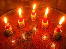 Weihnachtsmann-Kerzen Stockfotografie