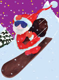 Weihnachtsmann kommt hinunter das montain Lizenzfreie Stockfotografie