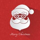 Weihnachtsmann-Kopfsymbol auf rotem Hintergrund lizenzfreie abbildung