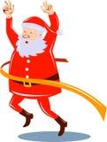 Weihnachtsmann-laufende Ziellinie stock abbildung