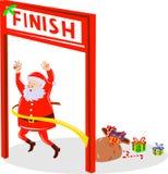 Weihnachtsmann-laufende Ziellinie Stockbilder