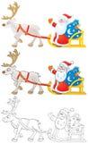 Weihnachtsmann-Laufwerke im Pferdeschlitten mit Ren Stockbild