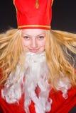 Weihnachtsmann-Mädchen mit Bart Lizenzfreies Stockbild
