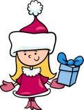 Weihnachtsmann-Mädchenkarikaturillustration Stockfoto