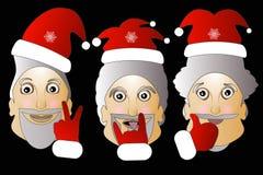Weihnachtsmann mit Bartillustration Weihnachtshippie-Plakat für Partei- oder Grußkarte fröhlicher Kunstdesignhintergrund Stockfotos