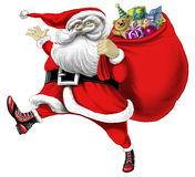 Weihnachtsmann mit Beutel der Geschenke Lizenzfreies Stockbild