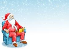 Weihnachtsmann mit blauem Hintergrund Lizenzfreie Stockbilder