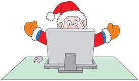 Weihnachtsmann mit Computer lizenzfreie abbildung